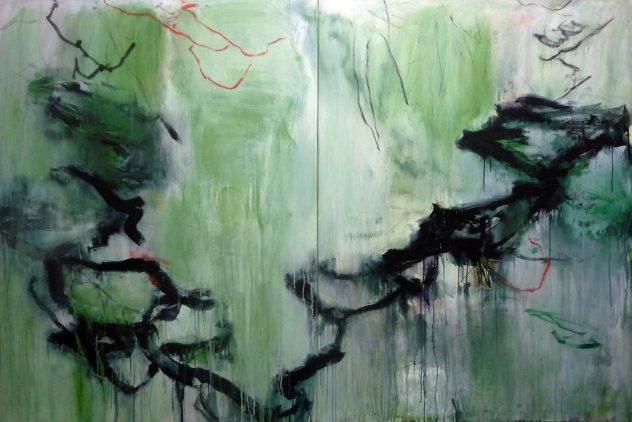Malerei von Dieter Konsek wuchtige schwarze Linien überziehen zartgrünen Untergrund