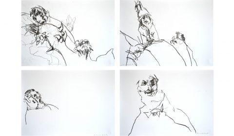 Serie Verarbeitung (Caprichos), 21. 4. 2018, Bleistift auf Papier, je 36,5 x 51 cm © Dieter Konsek