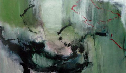 Geflecht, 2017, Acryl und Kohle auf Leinwand,90 x 100 cm © Dieter Konsek