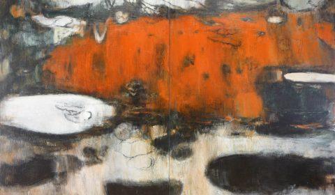 Gewachsen 2, 2009, Acryl und Kohle auf Leinwand, 200 x 280 cm © Dieter Konsek