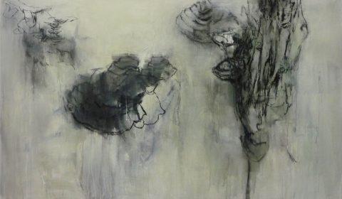 am Baum, 2015, Acryl und Kohle auf Leinwand, 125 x 200 cm © Dieter Konsek