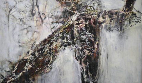 Baum 1, 2015, Acryl und Kohle auf Leinwand, 125 x 200 cm © Dieter Konsek