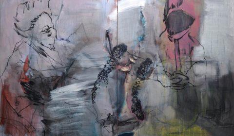 Caprichos (nach Goya), 2017, Acryl und Kohle auf Leinwand,150 x 220 cm © Dieter Konsek