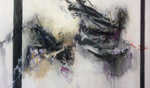 entfalten, 2015, Acryl und Kohle auf Leinwand, 110 x 150 cm © Dieter Konsek
