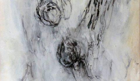 Fragmente, 2013, Acryl und Kohle auf Leinwand, 110 x 90 cm © Dieter Konsek