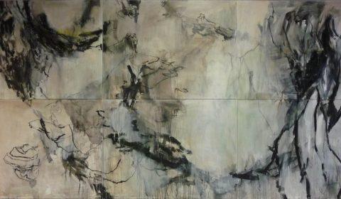 Große Landschaft, 2015, Acryl und Kohle auf Leinwand, 220 x 450 cm © Dieter Konsek