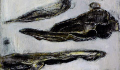 in der Schwebe, 2008, Acryl und Kohle auf Leinwand, 90 x 110 cm © Dieter Konsek