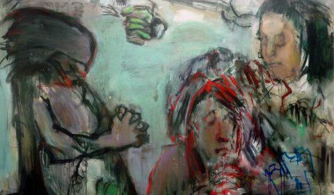 In-Out, 2017, Acryl und Kohle auf Leinwand,140 x 200 cm © Dieter Konsek