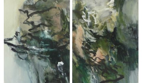 landschaftlich, 2016, Acryl und Kohle auf Leinwand, (zweiteilig) 125 x 183 cm © Dieter Konsek