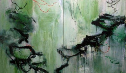 Geflecht, 2017, Acryl und Kohle auf Leinwand, 150 x 220 cm © Dieter Konsek