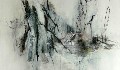 Ried, 2015, Acryl und Kohle auf Leinwand, 90 x 120 cm © Dieter Konsek