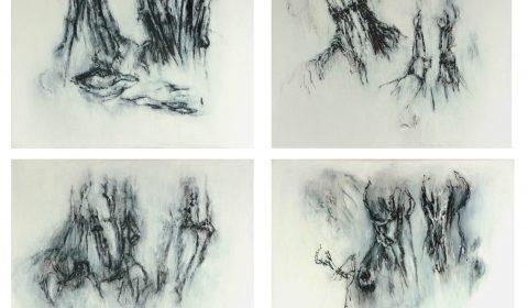 aus der Serie im Ried, 2014, Öl auf Leinwand, je 80 x 100 cm © Dieter Konsek