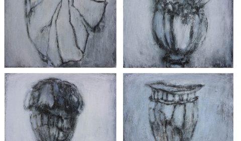 Serie Pflanzen, 2007, Acryl und Kohle auf Leinwand, je 40 x 50 cm © Dieter Konsek