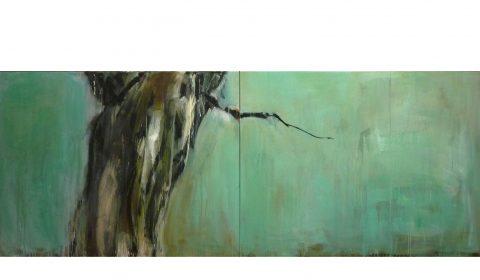 Stamm, 2016, Acryl auf Leinwand, 110 x 300 cm © Dieter Konsek