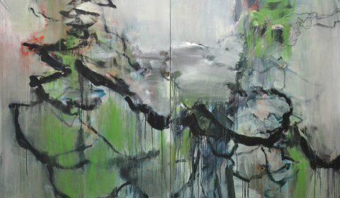 überwachsen, 2017, Acryl und Kohle auf Leinwand,150 x 220 cm © Dieter Konsek