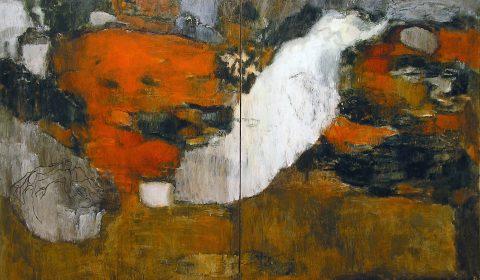 Wachsen im Raum 5, 2005, Acryl und Kohle auf Leinwand, 195 x 280 cm © Dieter Konsek