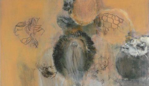 Zellkörper, 2012, Acryl und Kohle auf Leinwand, 80 x 120 cm © Dieter Konsek