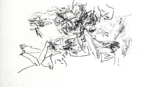 12. 2. 2001 (aus der Serie zeichnen im Jahr), 2001, Bleistift und Ölpastell auf Papier, 36,5cm x 51 © Dieter Konsek