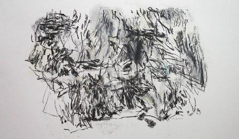 14. 3. 2001 (aus der Serie zeichnen im Jahr), 2001, Bleistift und Ölpastell auf Papier, 36,5cm x 51 © Dieter Konsek