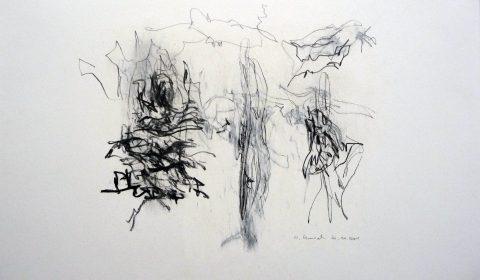 20. 11. 2001 (aus der Serie zeichnen im Jahr), 2001, Bleistift und Ölpastell auf Papier, 25,5 x 36,5cm © Dieter Konsek