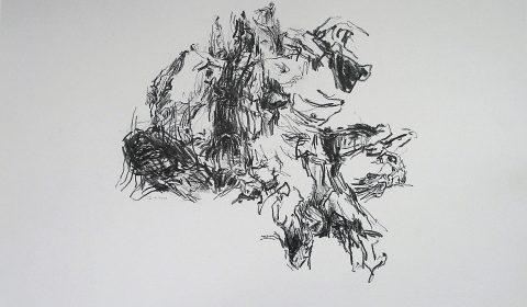 22. 1. 2001 (aus der Serie zeichnen im Jahr), 2001, Bleistift und Ölpastell auf Papier, 36,5cm x 51 © Dieter Konsek