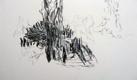 6. 3. 2001 (aus der Serie zeichnen im Jahr), 2001, Bleistift und Ölpastell auf Papier, 25,5 x 36,5cm © Dieter Konsek