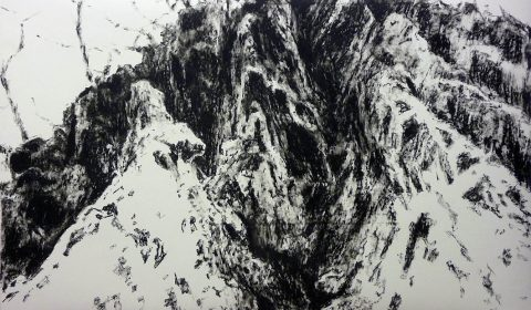 Aufblicken, 2013, Ölpastell auf Papier, 100 x 150 cm © Dieter Konsek