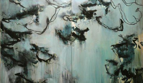 Am Morgen, 2018, Acryl und Kohle auf Leinwand, 170 x 250 cm © Dieter Konsek