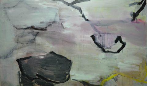 Geflecht, 2018, Acryl und Kohle auf Leinwand, 140 x 200 cm © Dieter Konsek