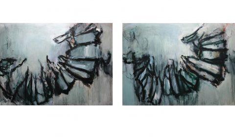 Aus der Nähe 1, 2018, Acryl und Kohle auf Leinwand, 140 x 200 cm - Aus der Nähe 2, 2018, Acryl und Kohle auf Leinwand, 140 x 200 cm © Dieter Konsek