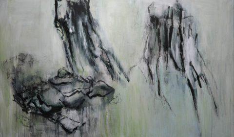 Wachstum, 2018, Acryl und Kohle auf Leinwand, 125 x 200 cm