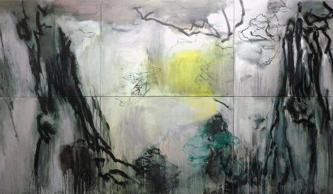 Januar, 2019, Acryl und Kohle auf Leinwand, 220 x 450 cm