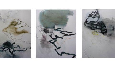 verwachsen, 2019, Acryl auf Leinwand, je 100 x 80 cm