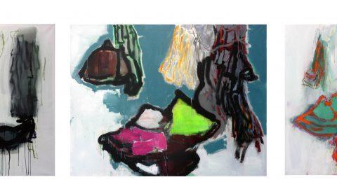 13. 3. , 14. 2. , 6. 3., Acryl und Pastell auf Leinwand, je 110 x 150 cm © Dieter Konsek