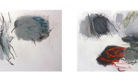 26. 1. 2020, 25. 1. 2020, Acryl und Pastell auf Leinwand, je 110 x 150 cm © Dieter Konsek