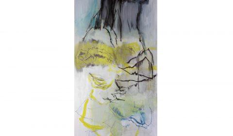 27. 2. 2020, Acryl und Pastell auf Leinwand, 200 x 100 cm © Dieter Konsek