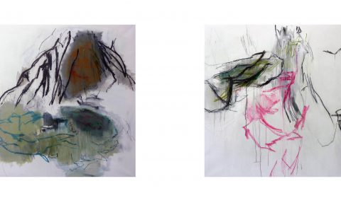 4. 2. 2020, 3. 1. 2020, Acryl und Pastell auf Leinwand, je 110 x 150 cm © Dieter Konsek