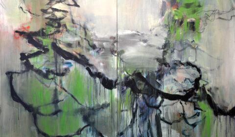 überwachsen, 2017, Acryl und Kohle auf Leinwand, 150 x 220 cm